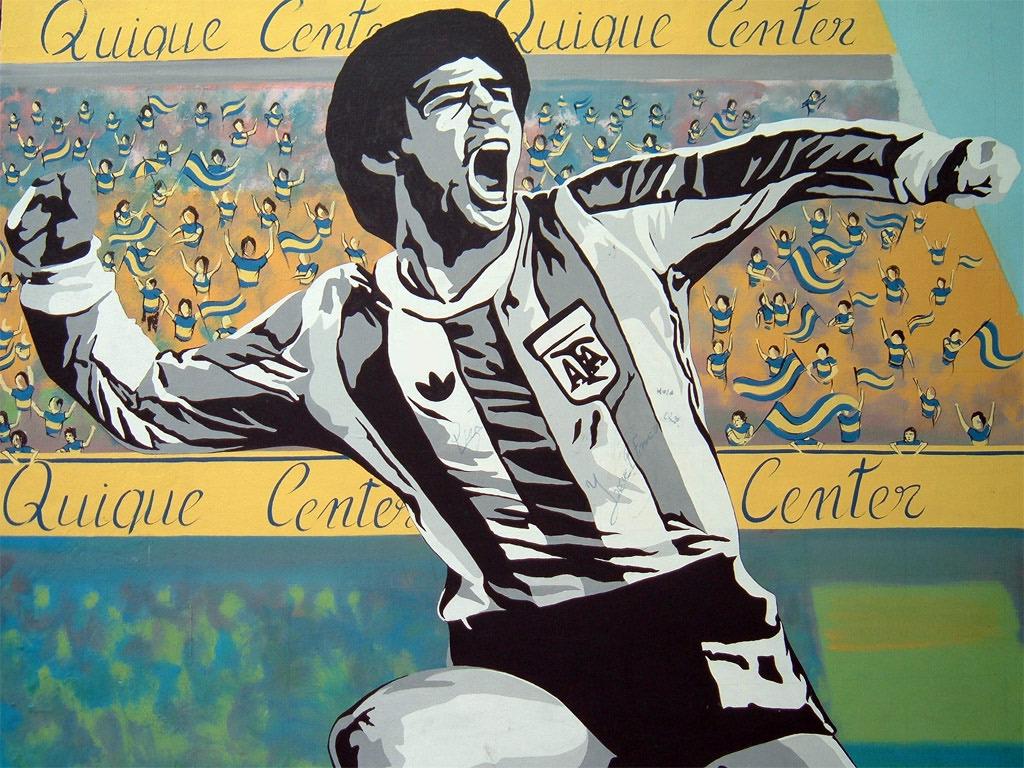 Un graffito di Buenos Aires che raffigura Diego Armando Maradona
