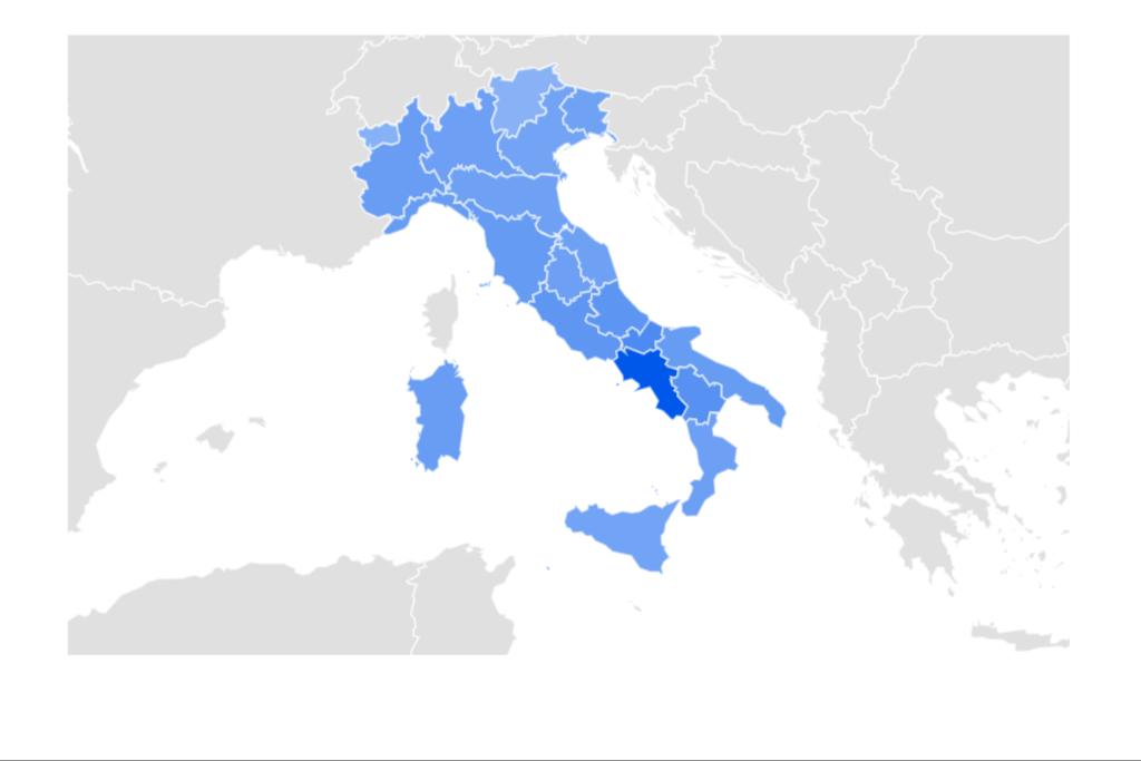 """Una mappa che raffigura la tendenza delle ricerche Google su base regionale per il termine """"Diego Armando Maradona"""""""