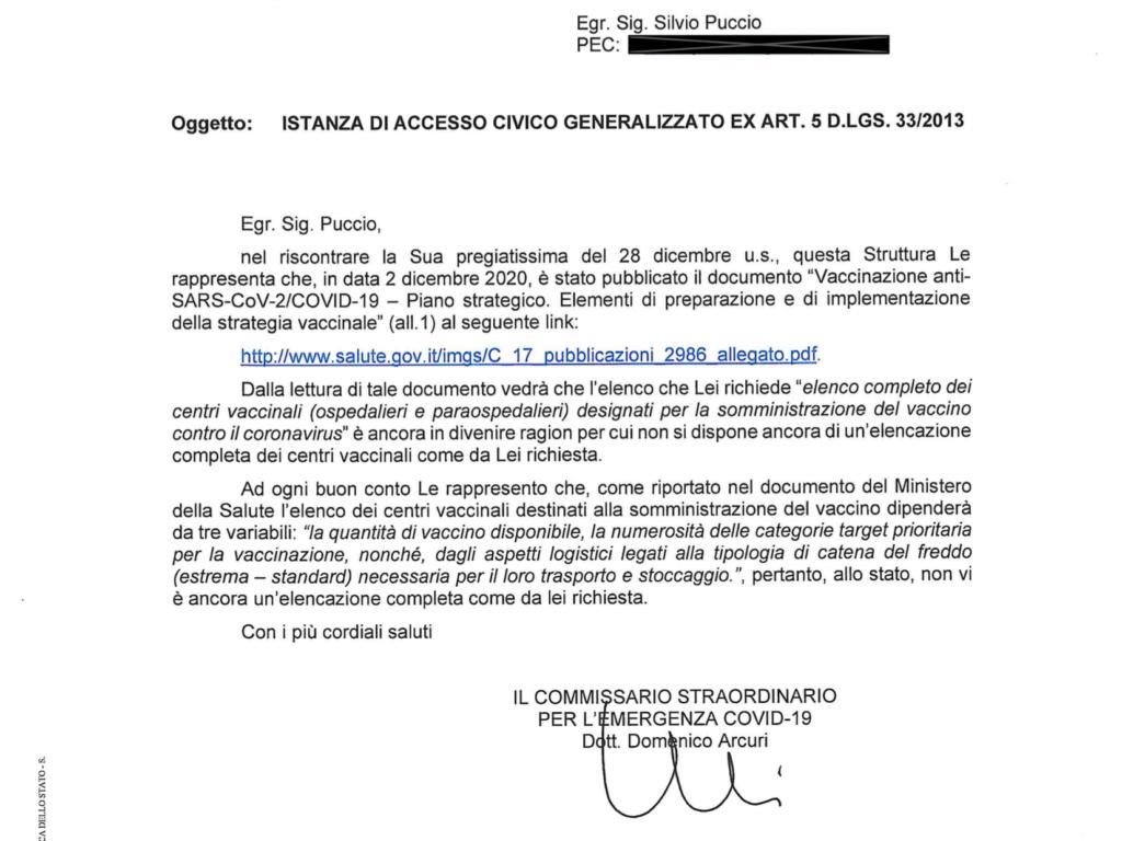 La risposta del commissario per l'emergenza al nostro Foia per conoscere l'elenco dei centri vaccinali per la somministrazione del vaccino covid