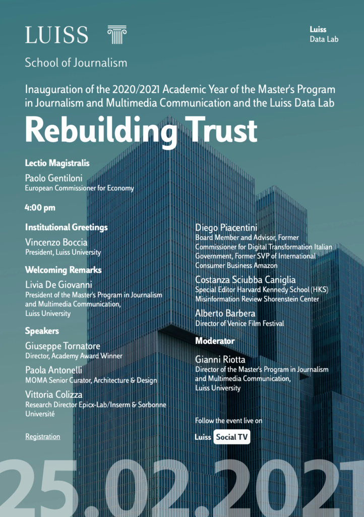 Rebuilding Trust. Oggi la lectio di Paolo Gentiloni